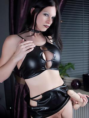 Cute but Evil TGIRL Hannah Sweden shoving a GIGANTIC DILDO in her tight Ass