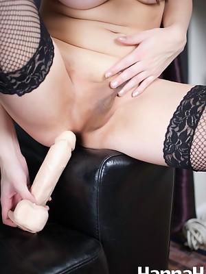 Transgirl Hannah Sweden shoving a TREMENDOUS DILDO in her tight Ass